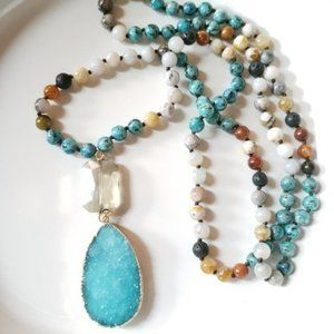 New! Anthro Crystal Link Druzy Necklace